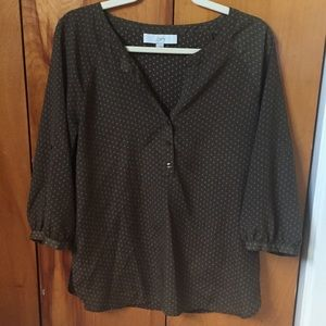 Loft Olive Green Dotted Blouse